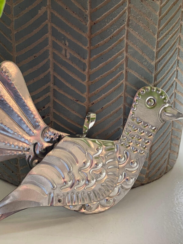 Vogel van blik zilver | Moonflower Store